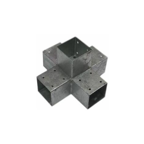 Connecteur 5D angles 90° pour poteau 9x9 cm