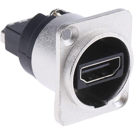 Connecteur HDMI traversant Femelle 2 voies Droit