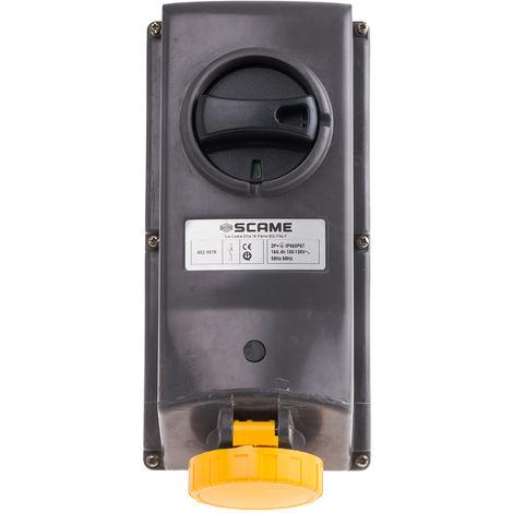 Connecteur industriel, Femelle, Montage panneau, 2P+E Angle droit, 16A, 110 V, IP67, Jaune