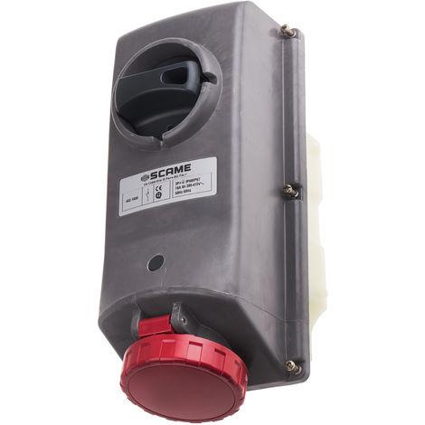 Connecteur industriel, Femelle, Montage panneau, 3P+E Angle droit, 16A, 415 V, IP67, Rouge