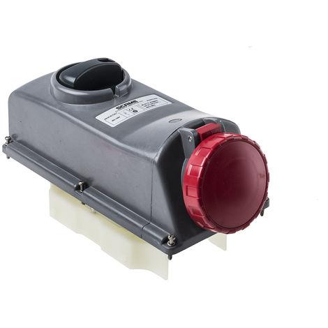 Connecteur industriel, Femelle, Montage panneau, 3P+N+E Angle droit, 16A, 415 V, IP67, Rouge