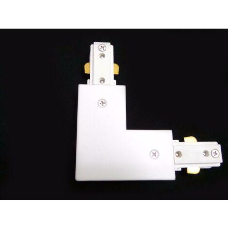 Connecteur LED pour Rail Monophasé Angle 90° BLANC