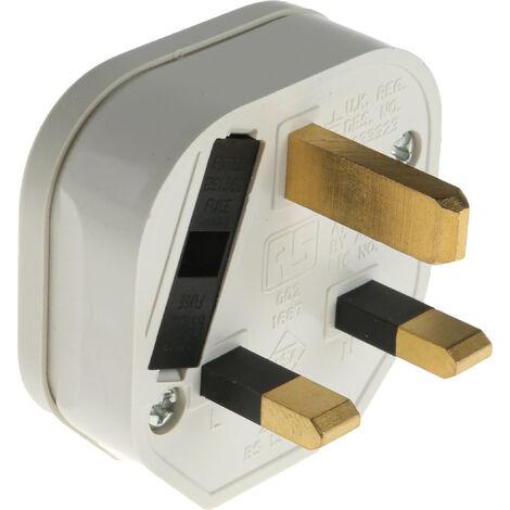 Connecteur Mâle 2P+T, 250 V c.a. 13A Blanc, Thermoplastique, pour utilisation en GB