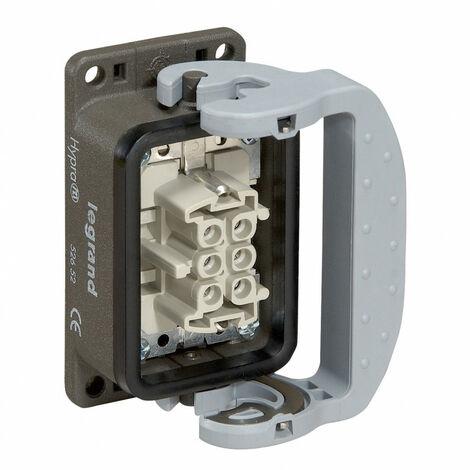 Connecteur multipôles embase femelle encastrée avec verrouillage métal Hypra 16A 500V 16P+T (052654)