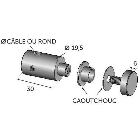 Connecteur pour cable ø4 INOX 316 fixation plexi 8mm