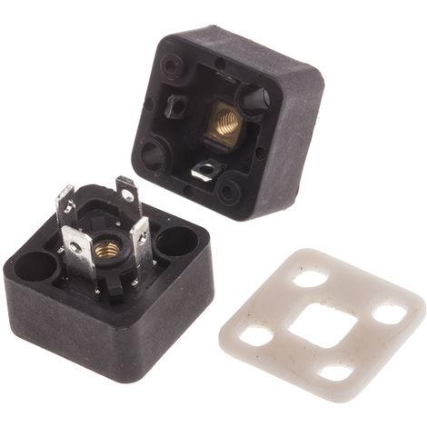 Connecteur pour électrovanne, Mâle, 3P+E, Traversant 10A, 250 V c.a., série MEM Flat,