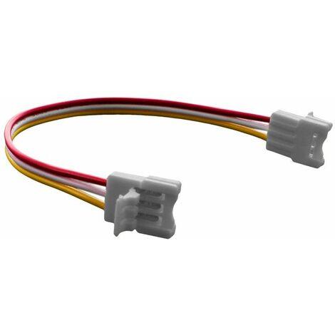 Connecteur pour ruban LED + W - 12mm - Click + câble 15cm + Click   Connectique pour ruban Blancs Pur et Chaud - Indice de Protection IP20 - Pour taille de ruban (en mm) 10