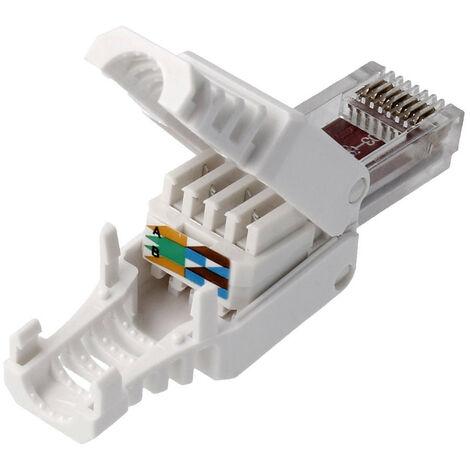 Connecteur Rj45 Utp Cat5e 8p8c Sans Outil 72600 Pas Besoin De Sertisseur 53551 Di