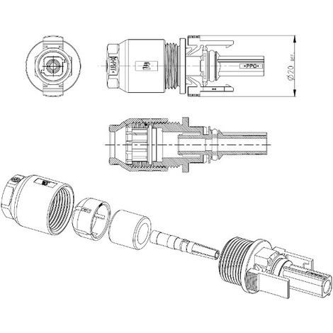 Connecteur Solarlok Tyco femelle moins 4mm²