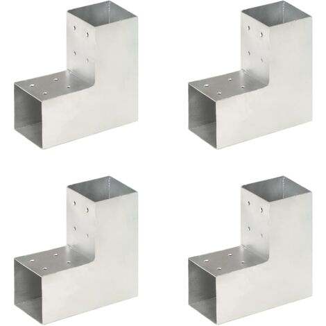 Connecteurs de poteau 4 pcs Forme en L Métal galvanisé 81x81 mm