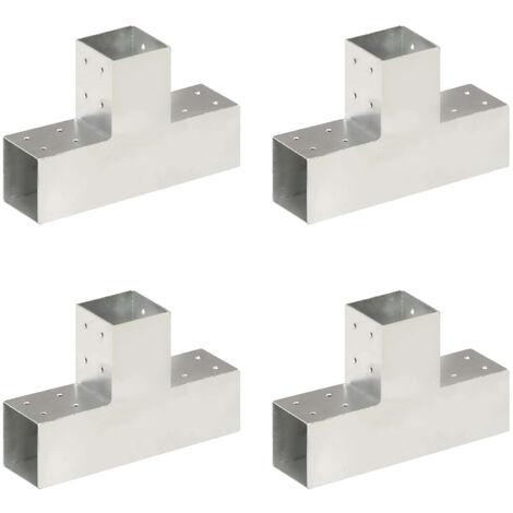 Connecteurs de poteau 4 pcs Forme en T Metal galvanise 81x81 mm