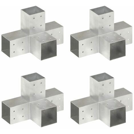 Connecteurs de poteau 4 pcs Forme en X Métal galvanisé 81x81 mm