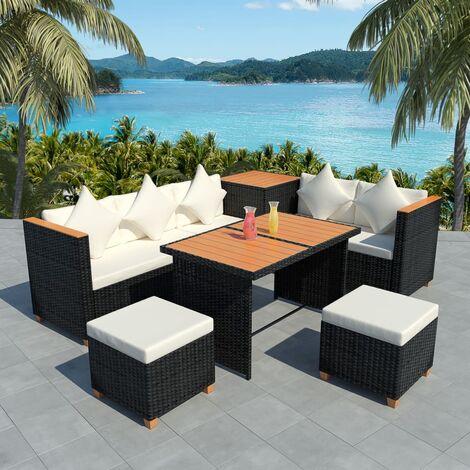 Conner 7 Seater Rattan Corner Sofa Set by Dakota Fields - Black