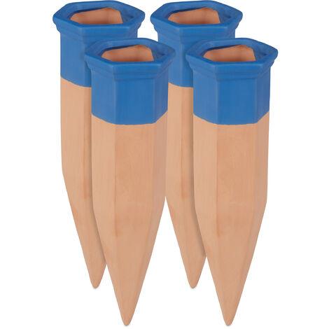 Conos de autorriego, Ayuda de riego automático, Para botellas de 1,5L, 19 cm, 4 Uds., Terracota & Azul