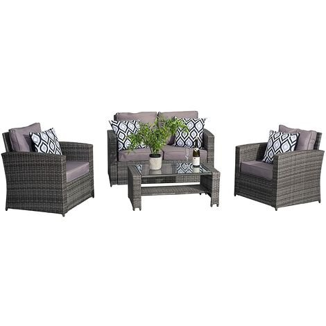 Awesome Conservatory 4 Piece Rattan Sofa Garden Furniture Patio Grey Home Interior And Landscaping Ferensignezvosmurscom