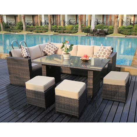 Conservatory Barcelona range Rattan Brown garden furniture set 9 seater dining set