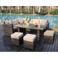 Conservatory Barcelona range Rattan Brown garden furniture set 9 seater dining set with rain cover
