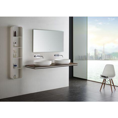 Consola de lavabo doble para colgar en MDF - SMART-Line - marrón - medida a elegir - soporte de fijación opcional