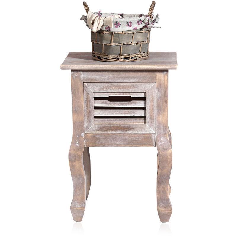 Mucola - Mesita de noche mesa de noche armario de noche Marrón mesa auxiliar consola de noche armario de noche cómoda de noche Shabby Vintage