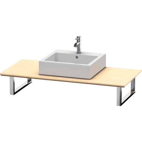 Consola Duravit X-Large para lavabos de sobremesa y lavabos empotrados, 026C, con un hueco, para esquina izquierda, profundidad 550 mm, Color (frente/cuerpo): Roble cepillado Chapa de madera auténtica - XL026C01212