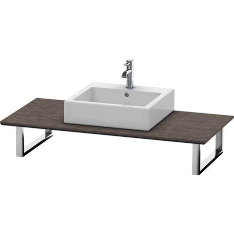 Consola Duravit X-Large para lavabos de sobremesa y lavabos empotrados, 026C, con un hueco, para esquina izquierda, profundidad 550 mm, Color (frente/cuerpo): roble oscuro cepillado chapa de madera auténtica - XL026C07272