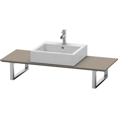 Consola Duravit X-Large para lavabos de sobremesa y lavabos empotrados, 027C, con un hueco, para esquina derecha, profundidad 550 mm, Color (frente/cuerpo): Flanela Gris seda lacado mate - XL027C09090