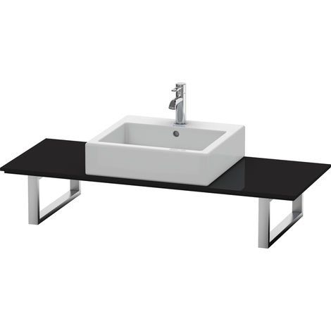 Consola Duravit X-Large para lavabos de sobremesa y lavabos empotrados, 027C, con un hueco, para esquina derecha, profundidad 550 mm, Color (frente/cuerpo): Laca negra de alto brillo - XL027C04040