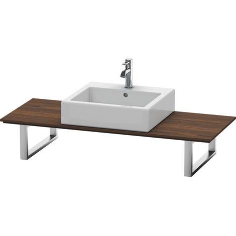 Consola Duravit X-Large para lavabos de sobremesa y lavabos empotrados, 028C, con un hueco, para nicho, profundidad 550 mm, Color (frente/cuerpo): Nogal cepillado Chapa de madera auténtica - XL028C06969