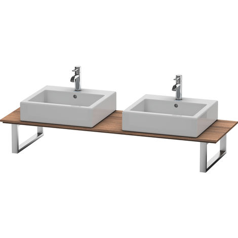 Consola Duravit X-Large para lavabos de sobremesa y lavabos empotrados, 046C, con dos orificios, para esquina izquierda, profundidad 550 mm, Color (frente/cuerpo): Nogal natural decorado - XL046C07979