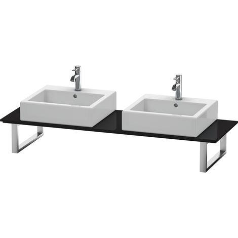 Consola Duravit X-Large para lavabos de sobremesa y lavabos empotrados, 047C, con dos orificios, para esquina derecha, profundidad 550 mm, Color (frente/cuerpo): Laca negra de alto brillo - XL047C04040