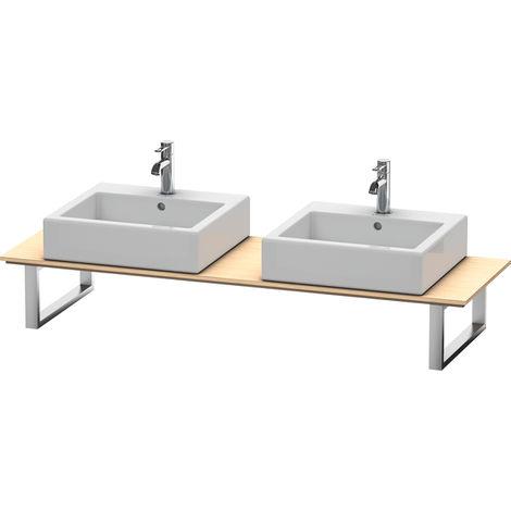 Consola Duravit X-Large para lavabos de sobremesa y lavabos empotrados, 047C, con dos orificios, para esquina derecha, profundidad 550 mm, Color (frente/cuerpo): Roble cepillado Chapa de madera auténtica - XL047C01212
