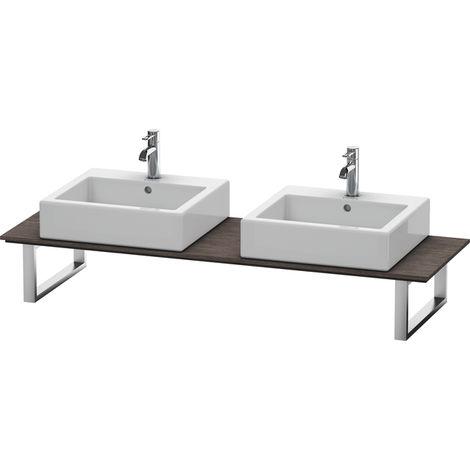 Consola Duravit X-Large para lavabos de sobremesa y lavabos empotrados, 048C, con dos orificios, para nicho, profundidad 550 mm, Color (frente/cuerpo): roble oscuro cepillado chapa de madera auténtica - XL048C07272