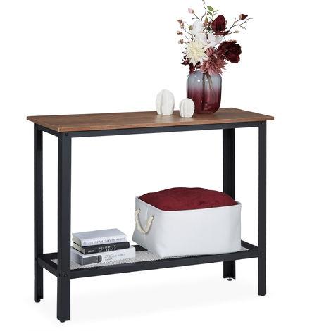 """main image of """"Consola Recibidor, Mesa Entrada, Mueble Industrial, Acero-PB, 1 Ud., 80 x 101,5 x 35cm, Negro y Marrón"""""""