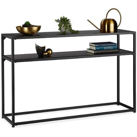 Console, 2 étages, en métal et bois MDF, peu encombrante, table d'appoint étroite, 70 x 110 x 30 cm, noire