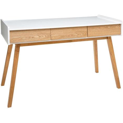 Console blanche de 3 tiroirs - L.120 x l.55 x H.78 cm -PEGANE-