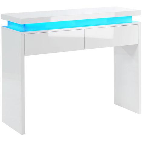 brillant coloris blanc Console en LED à mélamine Dim100 TJlK1cF