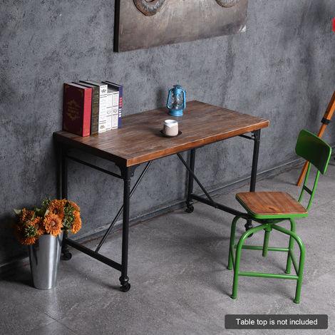 Console De Fer Retro Industrielle Pied De Table Table A Manger Jambe Bureau Jambe Avec Verrouillage Footwheels Bricolage Table Materiel De Bureau
