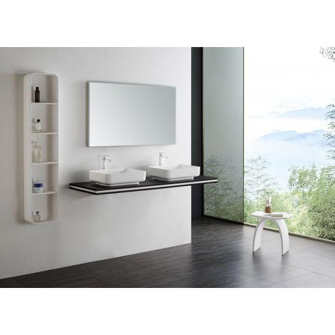 Console double vasque en MDF - SMART-Line - wenge - largeur sélectionnable - support de fixation en option