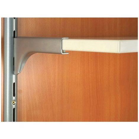 Console droite à 2 crochets pour tablette bois - Décor : Gris aluminium - Longueur : 120 mm - ELEMENT SYSTEM