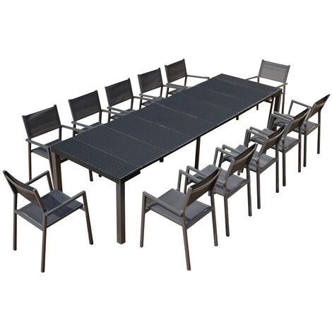 Console extensible gris foncé alu & résine + 12 chaises Mahé