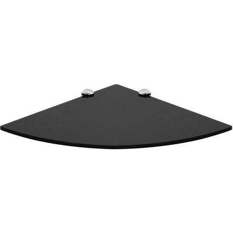 Console Glass shelf 350x350mm Corner wall shelf Black glass