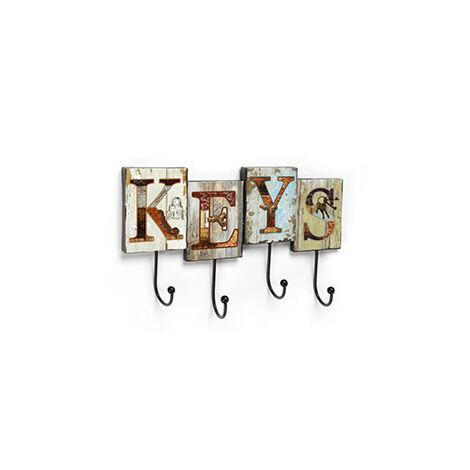 Console murale adhésive et à visser, style décoratif, en fer, avec panneau KEYS illustré et 4 cintres