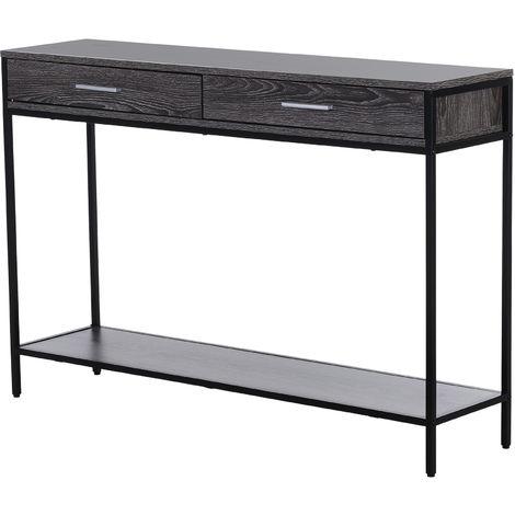 Console table d'appoint design industriel dim. 120L x 30l x 81H cm 2 tiroirs étagère acier noir panneaux particules bois gris