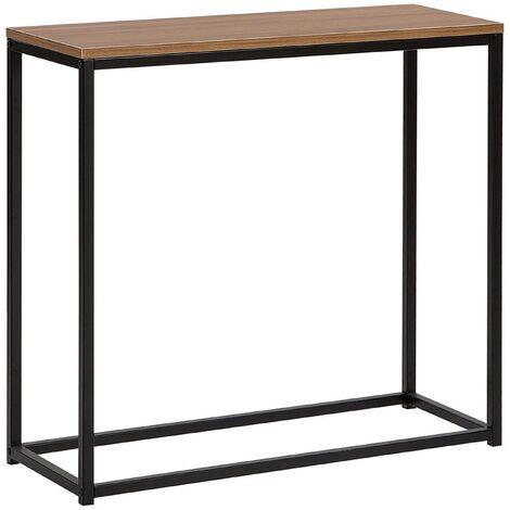 Console Table Dark Wood with Black DELANO