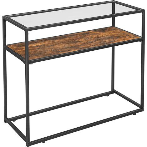 Console Table, Entrance Console, Tempered Glass Top, Robust Steel Frame, Easy Assembly, for Living Room Hallway, Industrial Style, Rustic Brown and Black LNT10BX
