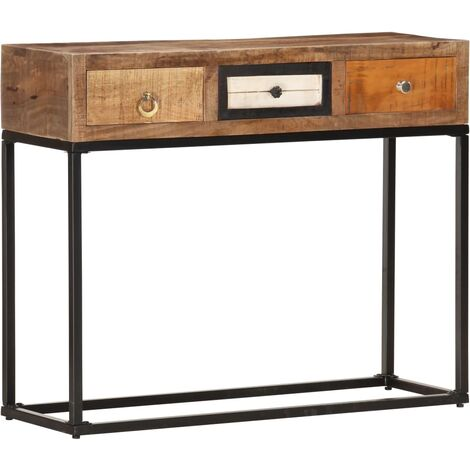 Console Table Gold 90x30x75 cm Solid Reclaimed Wood