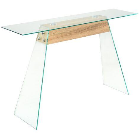 Console Table MDF and Glass 120x30x76 cm Oak Colour