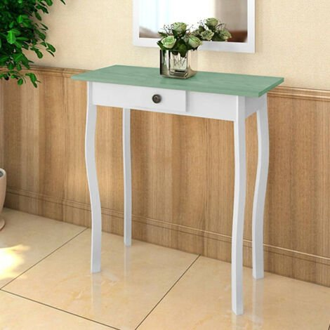 Console Table MDF White and Greyish Brown