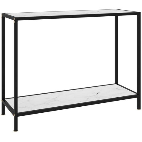 Console Table White 100x35x75 cm Tempered Glass