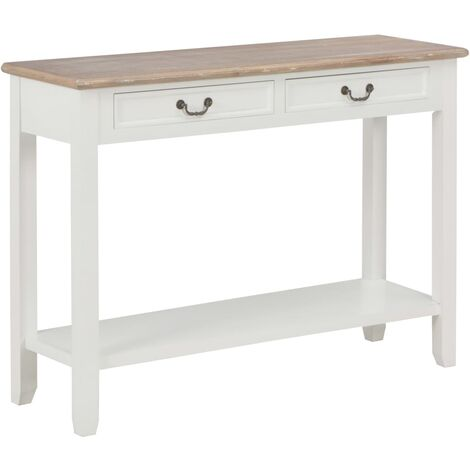 Console Table White 110x35x80 cm Wood